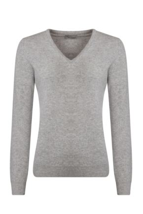 Ladies Great & British Knitwear 100% Lambswool Plain V Neck Jumper Pearl Grey B Small
