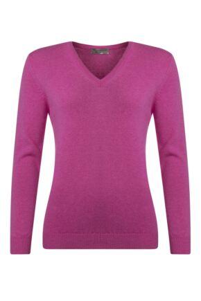 Ladies Great & British Knitwear 100% Lambswool Plain V Neck Jumper Cabaret C Medium