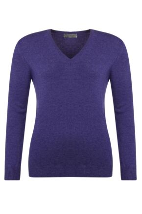 Ladies Great & British Knitwear 100% Lambswool Plain V Neck Jumper Heliotrope B Small