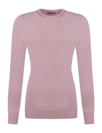 Ladies Great & British Knitwear 100% Lambswool Plain Round Neck Jumper Candy D Large
