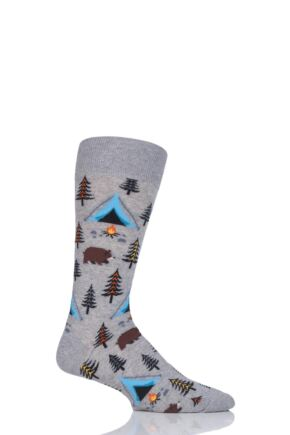Mens 1 Pair HotSox All Over Camping Cotton Socks