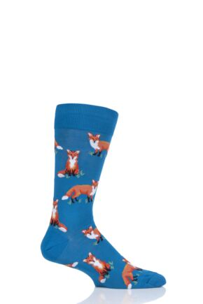 Mens 1 Pair HotSox All Over Foxes Cotton Socks