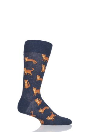 Mens 1 Pair HotSox All Over Cats Cotton Socks