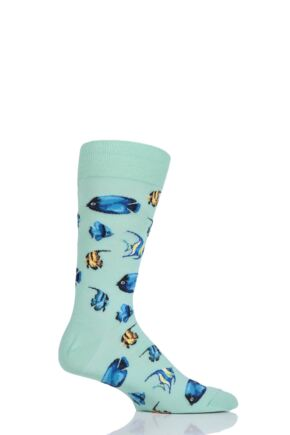 Mens 1 Pair HotSox Tropical Fish Cotton Socks
