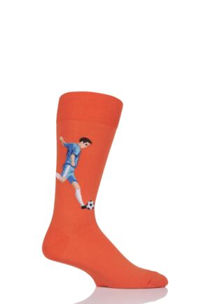 Mens 1 Pair HotSox Football Player Cotton Socks Orange 8-12 Mens