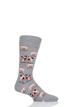 Mens 1 Pair HotSox All Over Pigs Cotton Socks