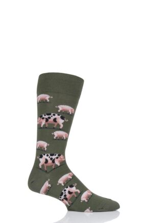 Mens 1 Pair HotSox All Over Pigs Cotton Socks Olive 8-12 Mens