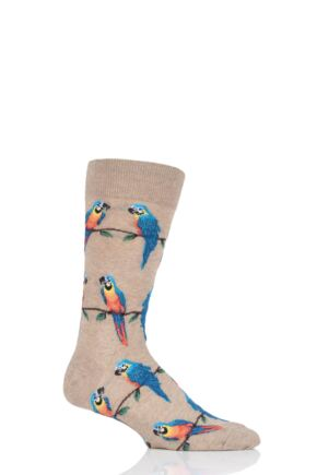 Mens 1 Pair HotSox All Over Parrot Cotton Socks