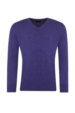 Mens Great & British Knitwear 100% Lambswool Plain V Neck Jumper Pinks and Purples