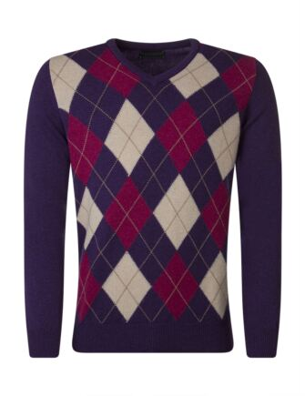 Mens Great & British Knitwear 100% Lambswool Argyle V Neck Jumper Prune C Medium