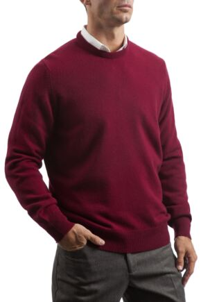 Mens Great & British Knitwear 100% Lambswool Plain Crew Neck Jumper Red Orange and Yellow Bordeaux B Small