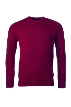 Mens Great & British Knitwear 100% Lambswool Plain Crew Neck Jumper Red Orange and Yellow Bordeaux F Xx-Large
