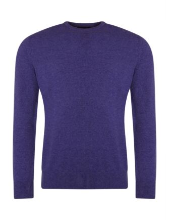 Mens Great & British Knitwear 100% Lambswool Plain Crew Neck Jumper Pinks and Purples Heliotrope C Medium