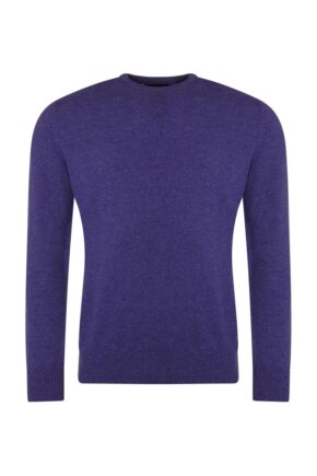 Mens Great & British Knitwear 100% Lambswool Plain Crew Neck Jumper Pinks and Purples Heliotrope B Small