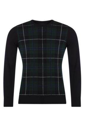 Mens Great & British Knitwear 100% Lambswool Tartan Crew Neck Jumper
