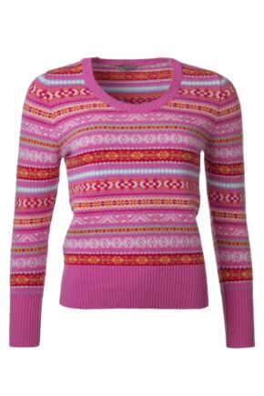 Ladies Great & British Knitwear 100% Lambswool Scoop Neck Fairisle Jumper Cabaret C Medium