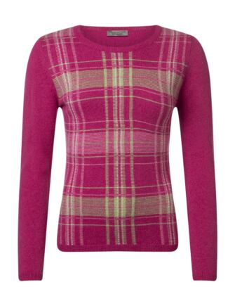 Ladies Great & British Knitwear 100% Lambswool Tartan Jumper Damask Small