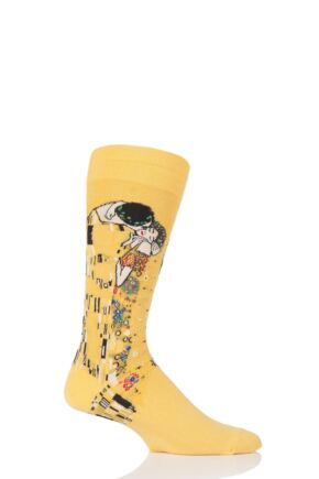 Mens 1 Pair HotSox Artist Collection The Kiss Cotton Socks Yellow 8-12 Mens