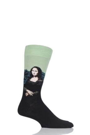 Mens 1 Pair HotSox Artist Collection Mona Lisa Cotton Socks Green 8-12