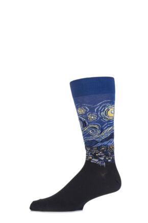 Mens 1 Pair HotSox Artist Collection Starry Night Cotton Socks In Royal Royal 8-12