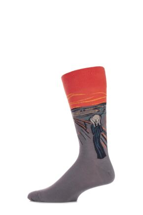 Mens 1 Pair HotSox Artist Collection The Scream Cotton Socks
