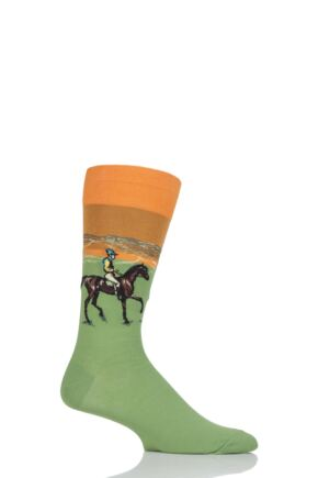 Mens 1 Pair HotSox Artist Collection Race Horse Cotton Socks