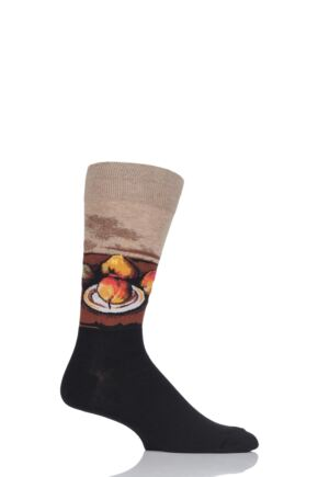 Mens 1 Pair HotSox Artist Collection Still Life Plate and Fruit Cotton Socks