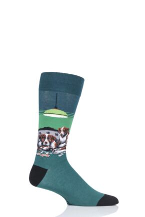 Mens 1 Pair HotSox Artist Collection Dogs Playing Poker - Coolidge Cotton Socks Green 8-12 Mens