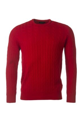 Mens Great & British Knitwear 100% Lambswool Cable & Rib Crew Neck Jumper Dubonnet D Large