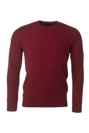 Mens Great & British Knitwear 100% Lambswool Cable & Rib Crew Neck Jumper Magma C Medium