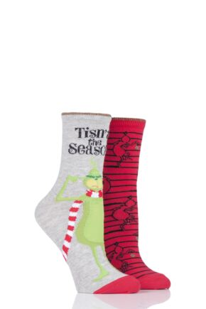 Ladies 2 Pair SOCKSHOP Grinch Cotton Socks