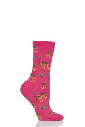 Ladies 1 Pair HotSox Mother Deer Cotton Socks Pink 4-8 Ladies