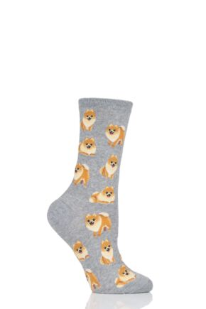 Ladies 1 Pair HotSox All Over Pomeranian Dogs Cotton Socks