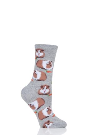 Ladies 1 Pair HotSox All Over Guinea Pigs Cotton Socks