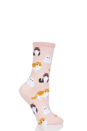 Ladies 1 Pair HotSox All Over Cats Cotton Socks