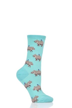Ladies 1 Pair HotSox All Over Hippo Cotton Socks
