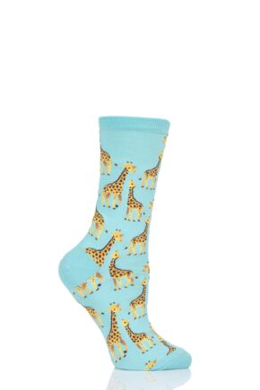Ladies 1 Pair HotSox All Over Giraffe Cotton Socks