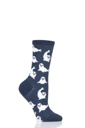 Ladies 1 Pair HotSox All Over Seals Cotton Socks