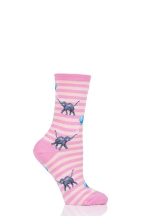 Ladies 1 Pair HotSox All Over Elephants with Balloon Cotton Socks