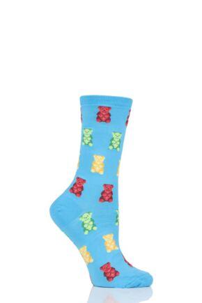 Ladies 1 Pair HotSox All Over Gummy Bears Cotton Socks