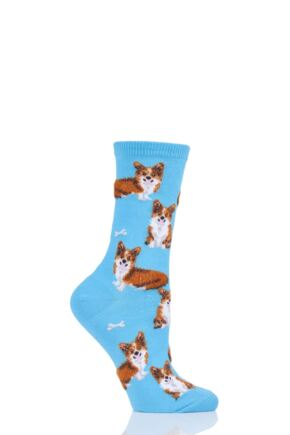 Ladies 1 Pair HotSox All Over Corgis Cotton Socks