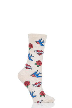 Ladies 1 Pair HotSox Old School Tattoo Mom Cotton Socks