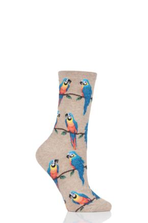 Ladies 1 Pair HotSox All Over Parrots Cotton Socks