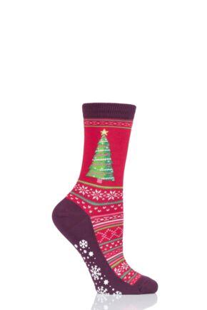Ladies 1 Pair HotSox Christmas Tree Cotton Socks Red 4-9 Ladies