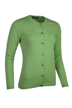 Ladies Great & British Knitwear Made In Scotland 100% Cashmere Golfer Cardigan Browns and Greens Foliage Medium