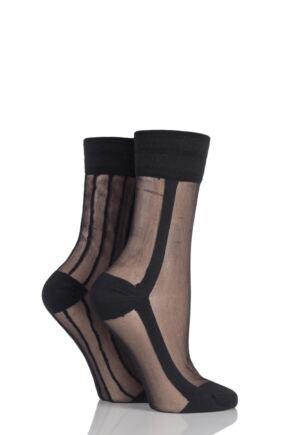Ladies 2 Pair SockShop Sibling Sheer Striped Top Pop Socks