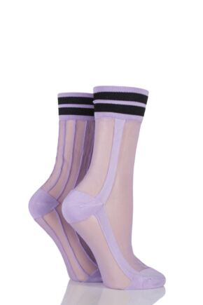 Ladies 2 Pair SockShop Sibling Sheer Striped Top Pop Socks Lilac 4-8