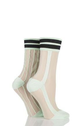 Ladies 2 Pair SockShop Sibling Sheer Striped Top Pop Socks Green 4-8