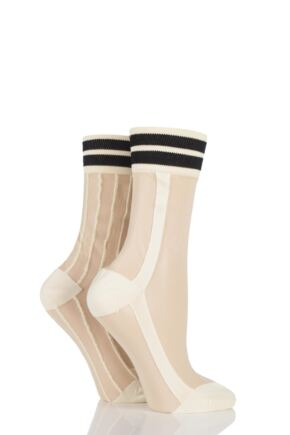 Ladies 2 Pair SockShop Sibling Sheer Striped Top Pop Socks Yellow 4-8