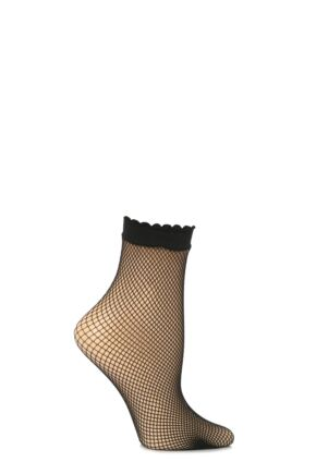 Ladies 1 Pair Trasparenze Idra Fishnet Ankle High Socks